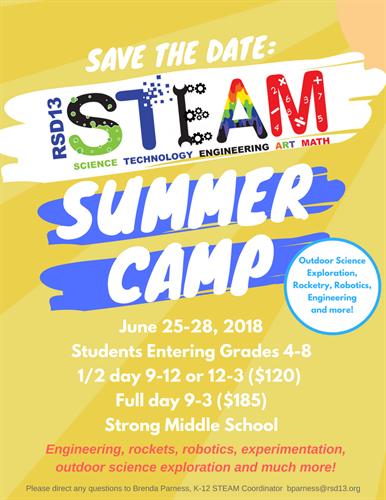 Regional School District 13 Summer Steam Camp 2018